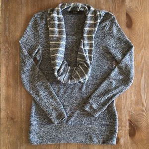The Limited Blue/Gray Sweater with Scarf Attached